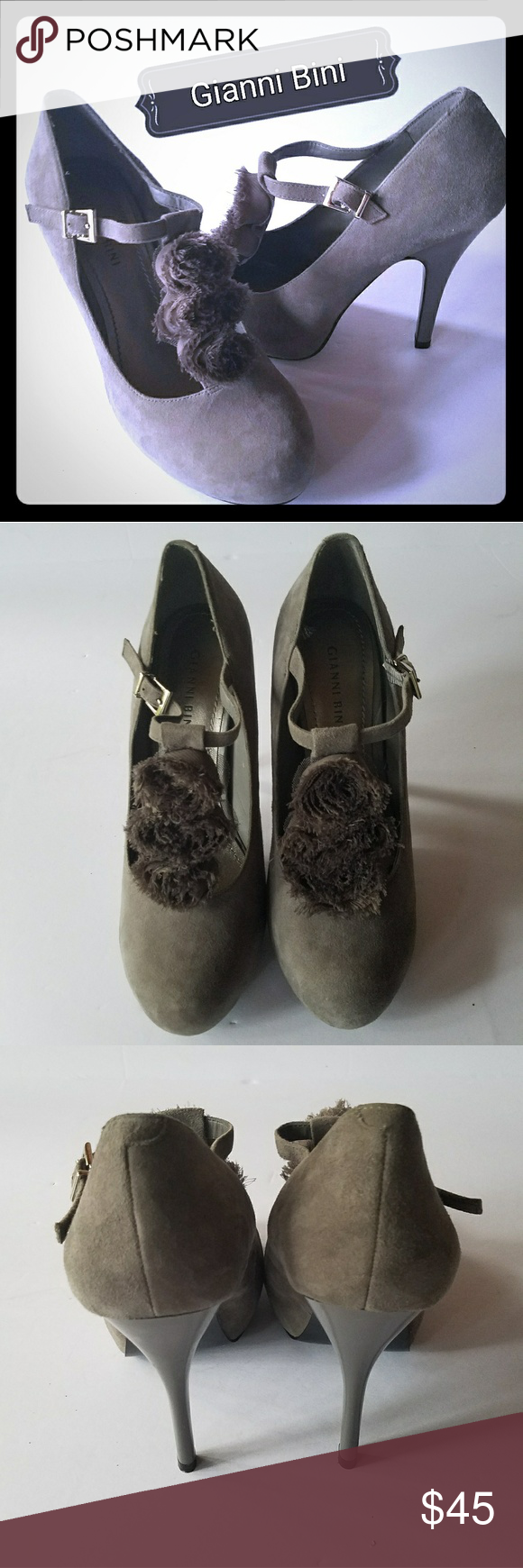"""New Gray T-Strap Heels by Gianni Bini Genuine grey suede t-strap adjustable with flower accent 4.5"""" heels. New never been worn excellent condition size 9. Due to foot injury selling all my heels. Gianni Bini Shoes Heels"""