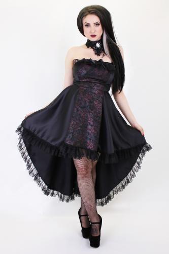 Ldres06 Esme Russian Rose Satin Tail Dress Gothic Dresses Phaze Clothing