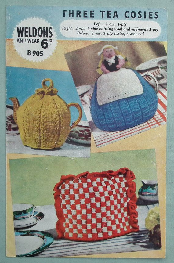 Vintage 1940s 1950s Knitting Pattern Traditional Tea Cosy Cozy