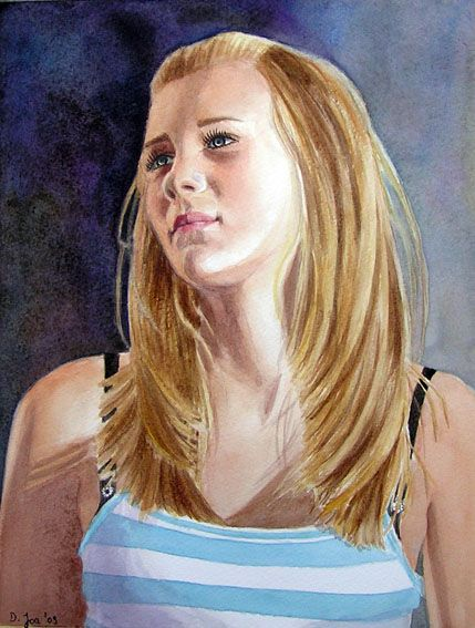 Blonde Hair Girl Portrait Painting In Watercolor Portrait