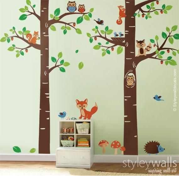 Forest Animals Wall Decal Tree Tops Woodland Critters Nursery Baby Playroom Kids Chi