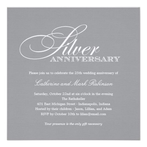 Silver Wedding Anniversary Invitation  Anniversary Party