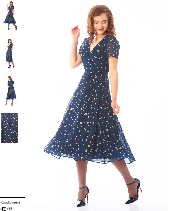 e06b8383ee9 Star print georgette midi wrap dress. Dark blue with gold stars of varying  sizes.