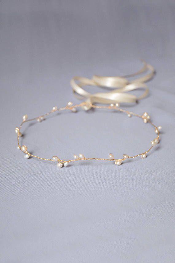 Photo of wedding halo, bridal circlet, pearl halo, bridal headband, rose gold wedding headpiece, pearl hair vine, bridal headpiece – AVERY