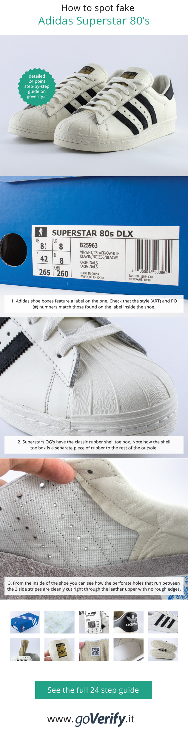 5524d7e1892 How to spot fake Adidas Superstar OG's, go to www.goverify.it for a ...