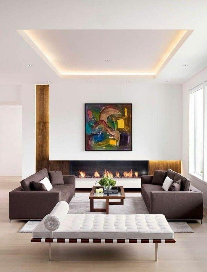 wohnideen wohnzimmer modernes weißes tagesbett und scicke braune - wohnideen für wohnzimmer