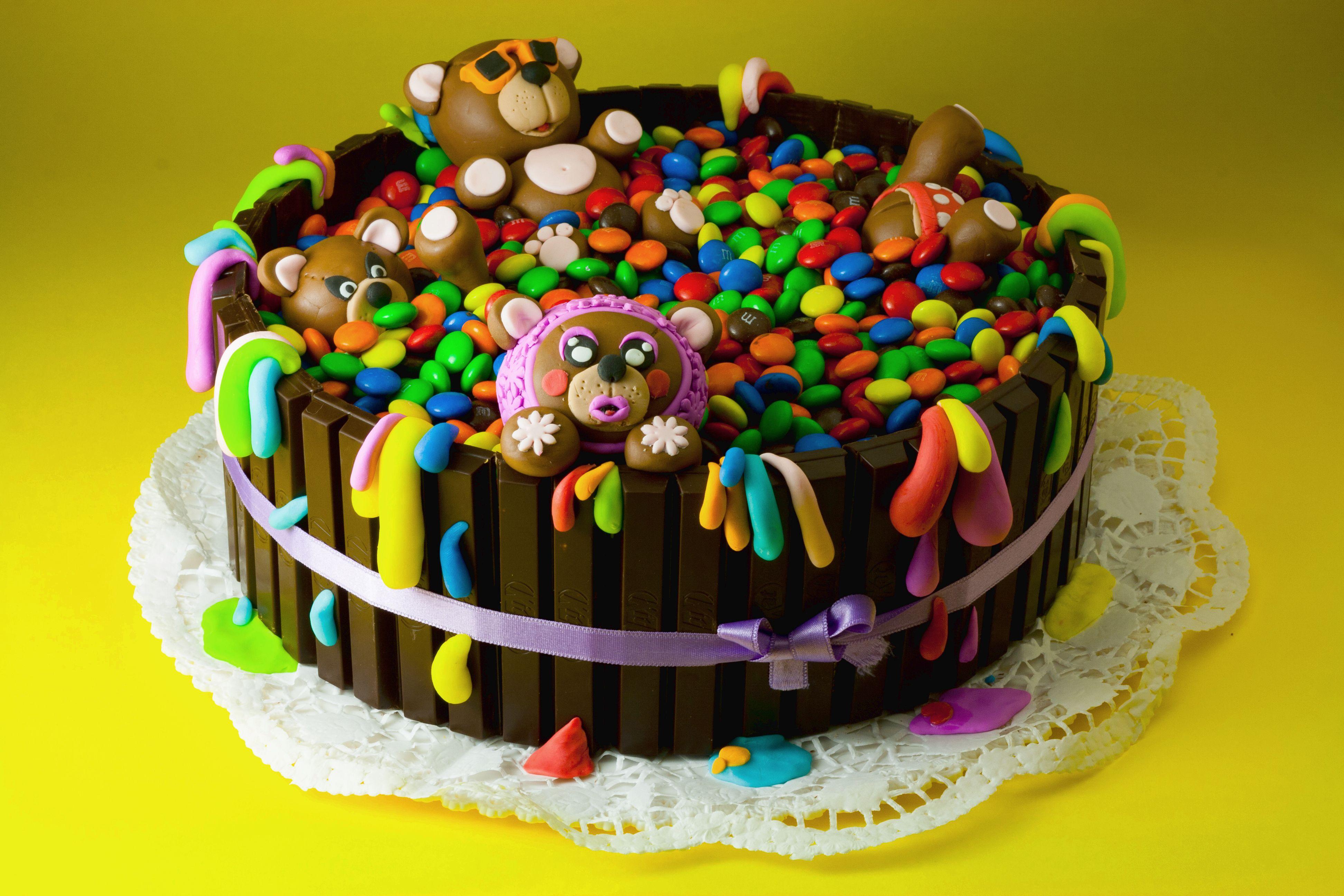 Torta Di Compleanno Con Smarties E Pasta Di Zucchero My