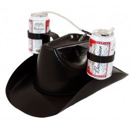 9a91561cee45f This black cowboy style hat and beer helmet holds two beers for easy  drinking. Walk around a party