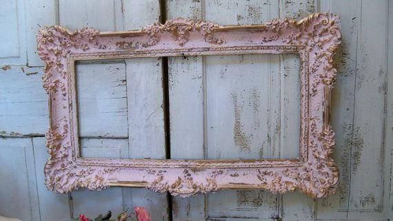 070c59a8c280 Large pink frame ornate vintage accented gold shabby chic romantic wall  home decor Anita Spero