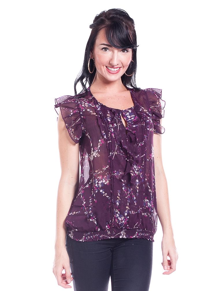 8710 - Purple Ruffle Sleeves and Neckline Pleated Front Elastic Hem Floral Top