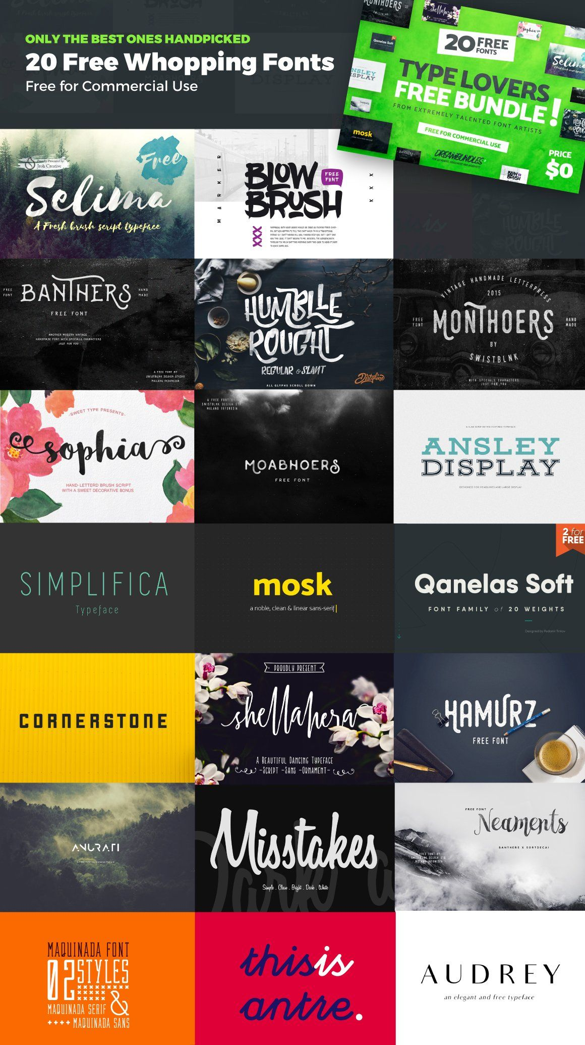 Download 20 Whopping & Best Free Fonts for 2018 | Free Font Bundle ...