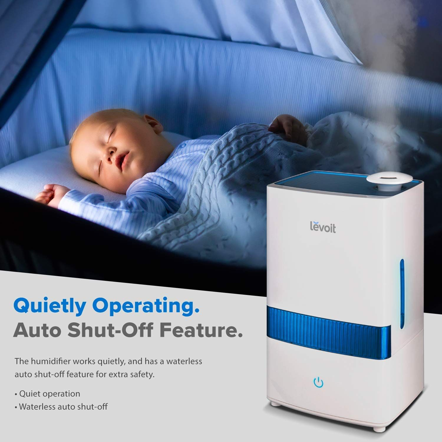 LEVOIT Cool Mist Humidifiers, 4.5L Ultrasonic Humidifier for Bedroom and Babies, Large Capacity Vaporizer for Large Room, Whisper Quiet, Auto Shutoff,