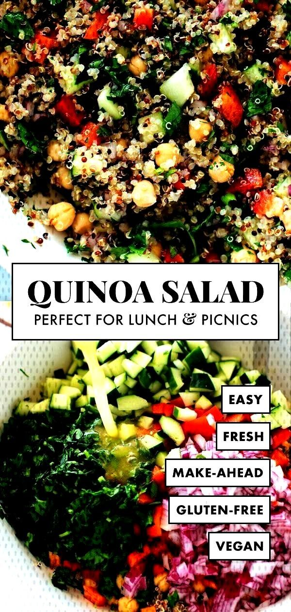 salad recipe is the BEST! Everyone loves this healthy quinoa salad made with quinoa, chickpeas, red