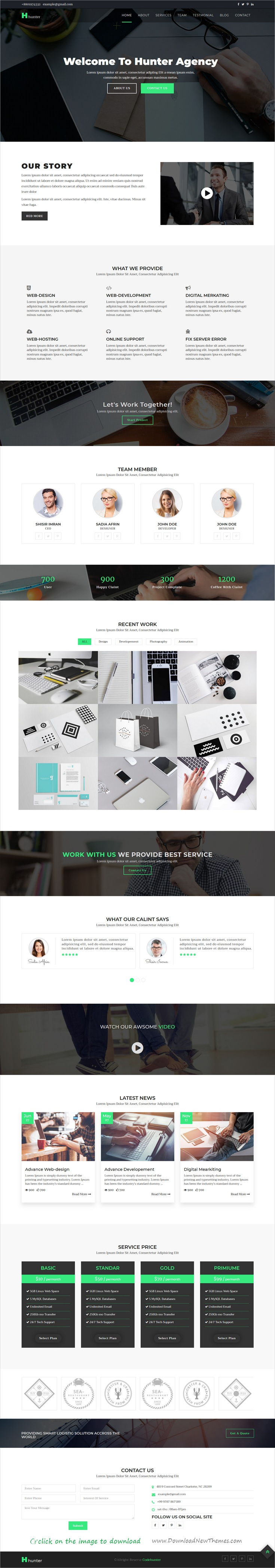 Hunter-One Page Resonsive Template | Template, Web design ...