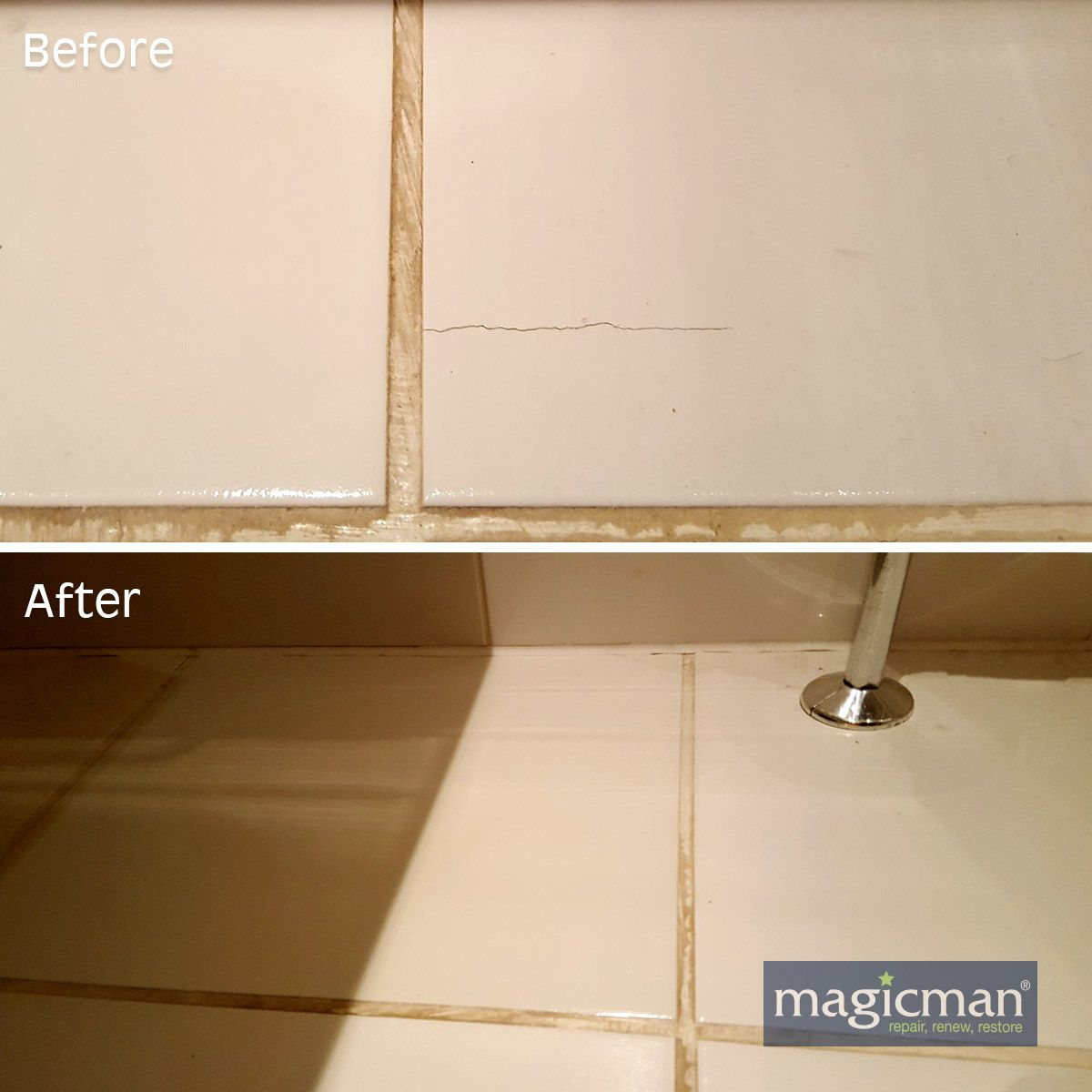 Floor and wall tiles with cracks, stains, drill holes or