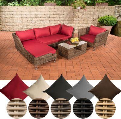 Poly-Rattan Lounge Set MOSS, 5 mm RUND-Geflecht, 4 Sitzplätze, mit - garten lounge mobel holz