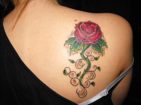 Beautiful Feminine Red Rose Upper Back Tattoo Designs For Women Rose Tattoos For Girls Rose Tattoo Design Rose Tattoos For Women