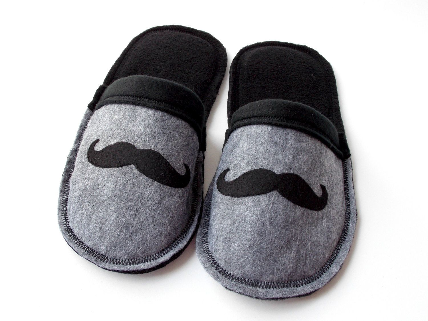 Boys Mustache Slippers Childrens Clothing Black Grey Gray Fleece ...