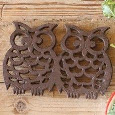 Cast Iron Double Owl Trivet  $19.95 Antique Farmhouse