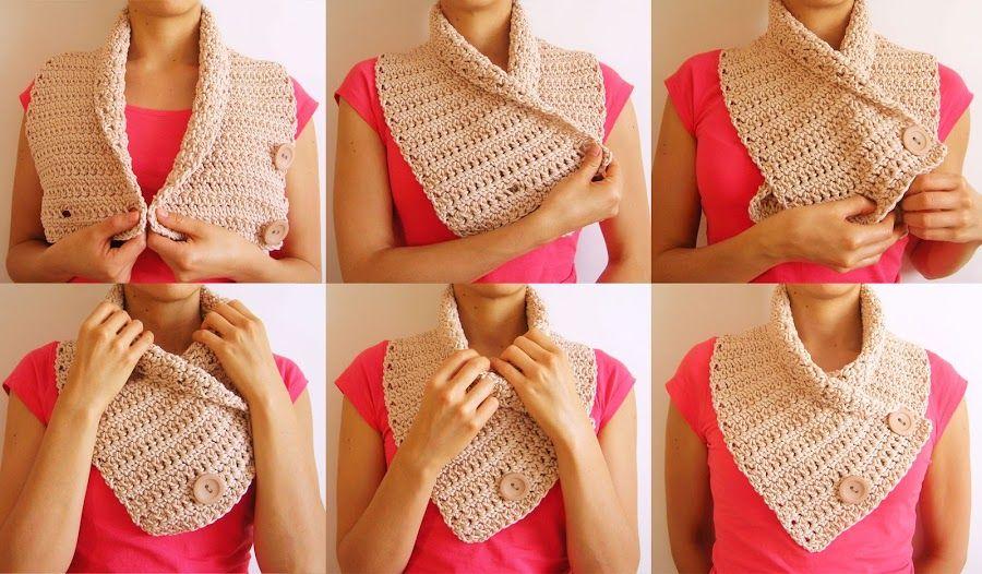 Tutorial 109 Bufanda/Cuello con Botones a Crochet , Vídeo