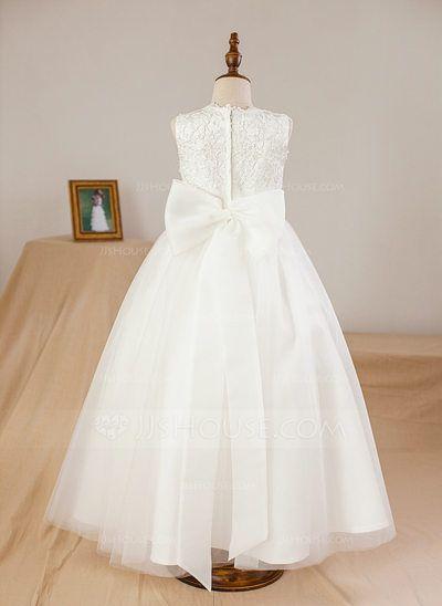 Ball Gown Scoop Neck Ankle-length Appliques Flower(s) Satin Tulle Sleeveless Flower Girl Dress Flower Girl Dress