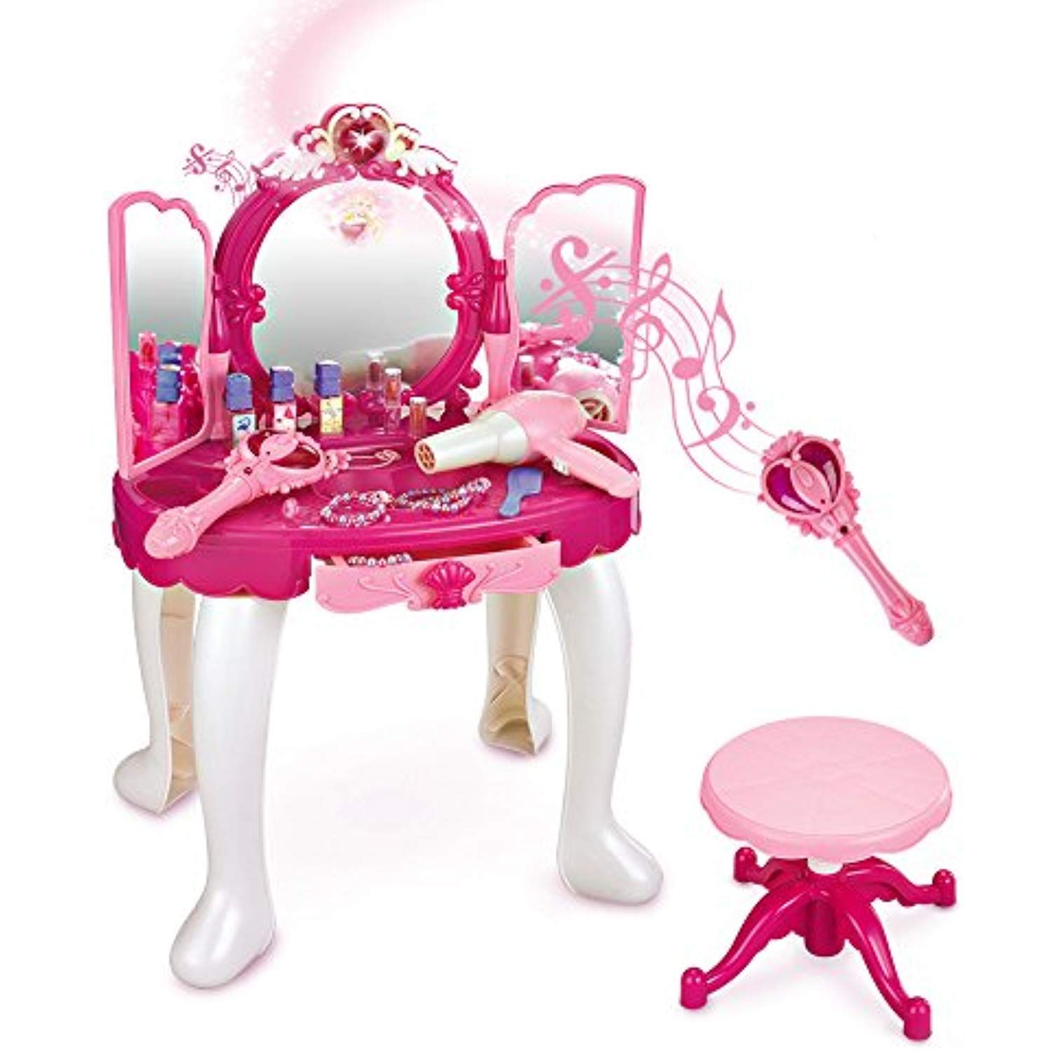 Sainsmart Jr Pretend Princess Girls Vanity Table With Fairy Infrared Control And Mp3 Music Playing Princess D Girls Vanity Table Girls Vanity Kids Vanity Set