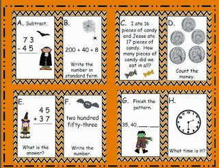 free halloween task cards for second grade math center freebie counting money telling time. Black Bedroom Furniture Sets. Home Design Ideas