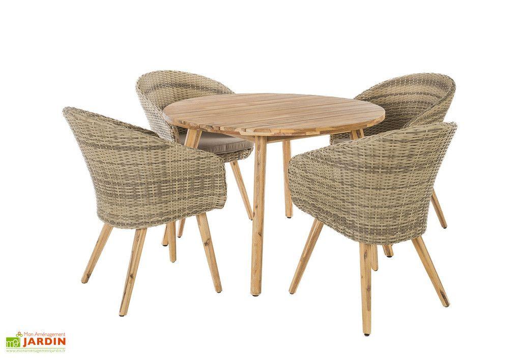 Salon De Jardin Acacia Et Rotin Marilyn 1 Table Ronde Et 4 Fauteuils Table Et Chaises De Jardin Ensemble Table Et Chaise Fauteuil Rotin