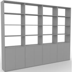 Photo of Wohnwand Grau – Individuelle Designer-Regalwand: Türen in Grau – Hochwertige Materialien – 301 x 233