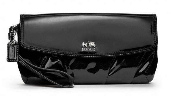 Coach Madison Patent Leather Large Flap Clutch Wristlet.. Mine is all patent.. Holds my phone.. Perfect for when I don't want to carry my giant purse!