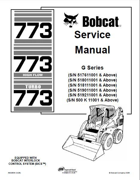 Bobcat 773 High Flow 773 Turbo Skid Steer Loader Service