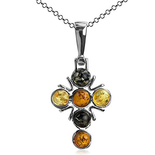 Honey Amber and Sterling Silver Cube Cross Pendant bh5gC