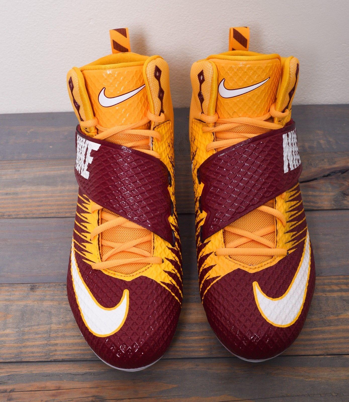 sale retailer f88fc 2329b Men s Nike Lunar Beast Strike Pro TD Football Cleats, Maroon YLW White Size  13.5