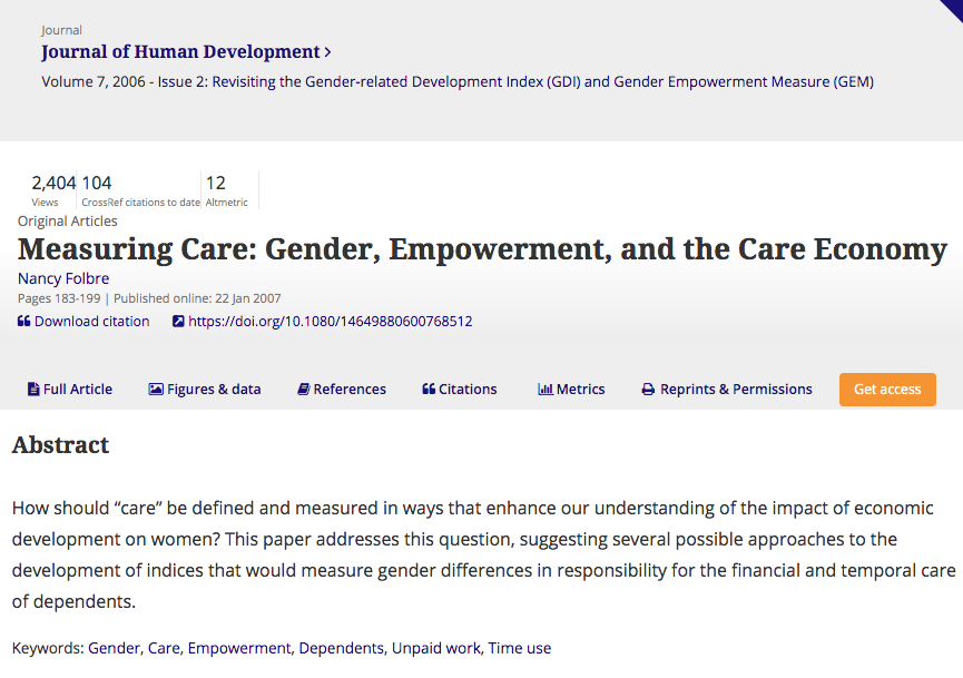 Folbre Nancy 2006 Measuring Care Gender Empowerment And The Care Economy Journal Of Human Development Human Development Empowerment Feminist Economics