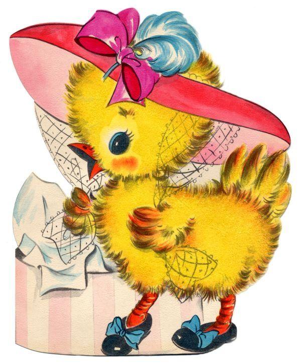 Retro Easter Cards   vintage easter card - fancy dressed chick   Easter