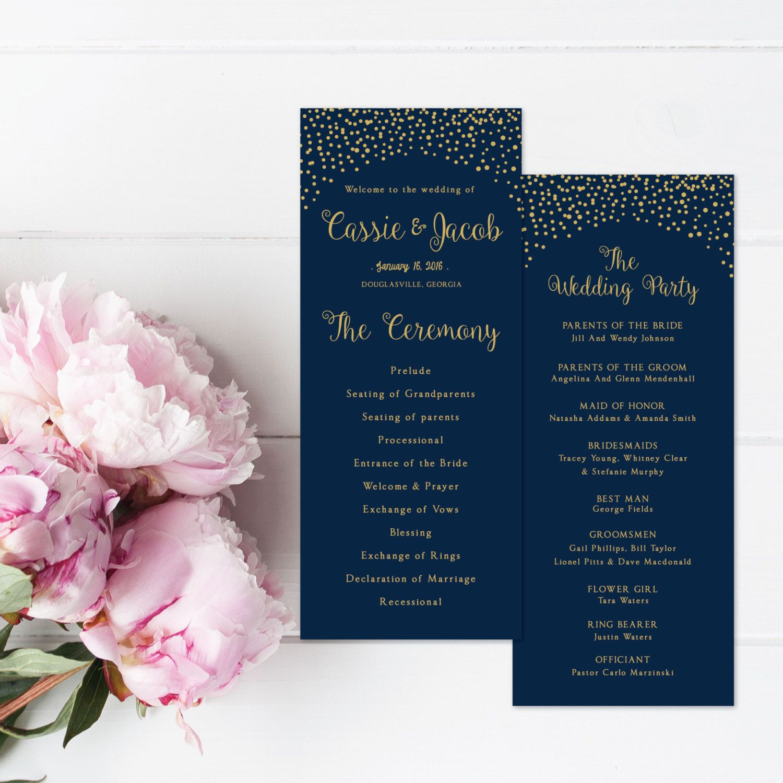 Wedding Program Template Gold Confetti Ceremony Navy Blue Nautical Minimalist Modern Pdf File By Thegemarts On Etsy