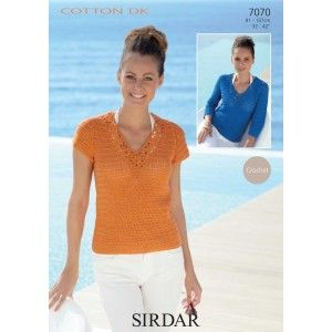 Ladies Crocheted Sweater in Sirdar Cotton Dk