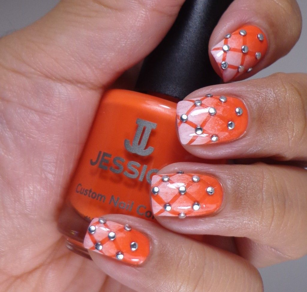 Quilted pattern nail art, gradient,  Orange & White nail polish. Of Life and Lacquer.