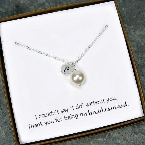 Personalized Thank You Gift Silver Pearl Necklace with Hand Stamped Initial