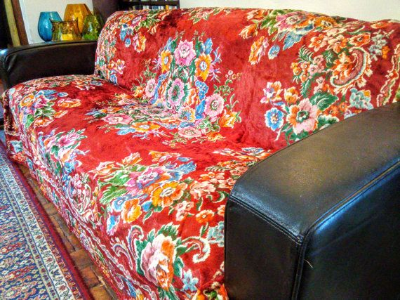 Vintage Red Floral Gypsy Tapestry Large Throw Blanket by MollyTops