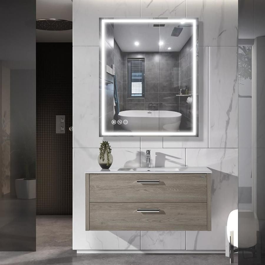 Clihome 30 In Lighted Led Fog Free Silver Rectangular Bathroom Mirror Lowes Com In 2021 Led Mirror Bathroom Bathroom Mirror Rectangular Bathroom Mirror [ 900 x 900 Pixel ]