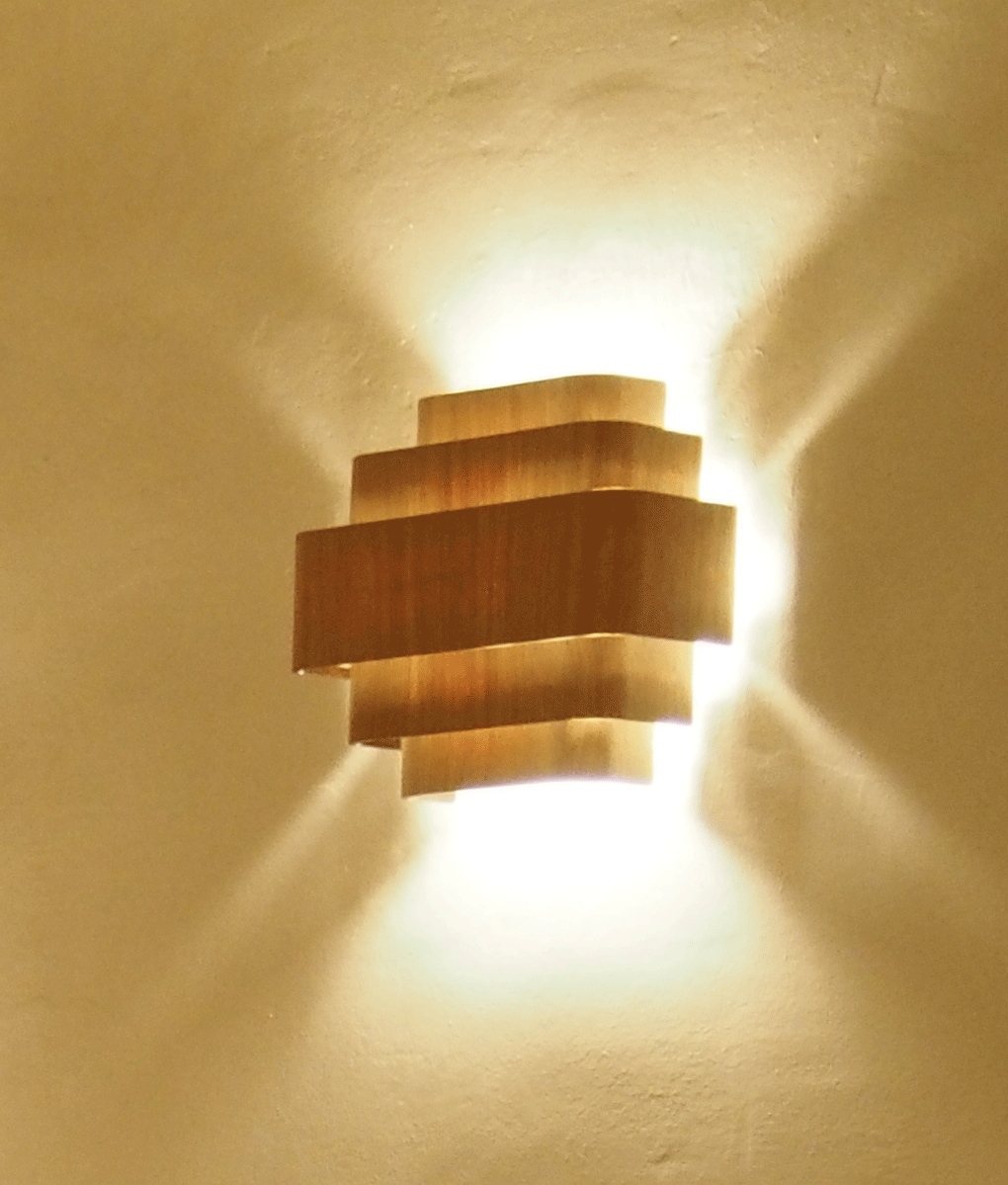 Lamp Wood Wall Light Made In France With Oak Or Wenge Finish