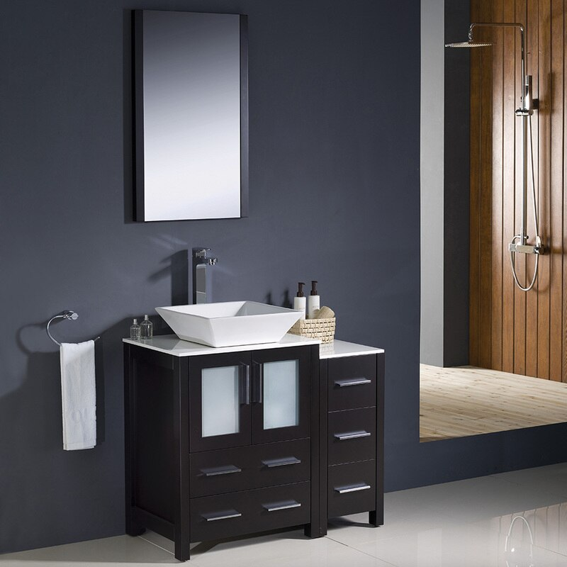 Torino 36 Modern Bathroom Vanity W Side Cabinet Vessel Sink