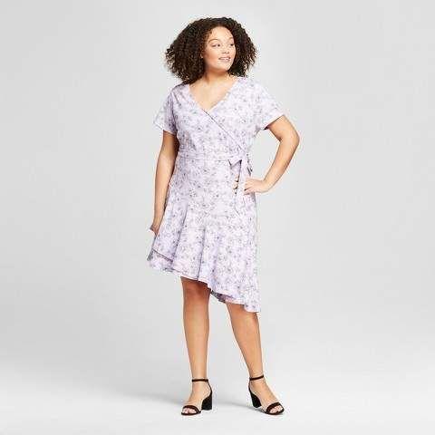 29f268a4a27e2 Ava & Viv Women's Plus Size Floral Print Wrap Dress Lavender ...