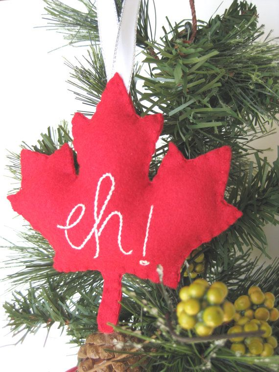 Canada Maple Leaf Ornament Eh Canada Maple Leaf // Christmas - Canada Maple Leaf Ornament - Eh Canada Maple Leaf // Christmas