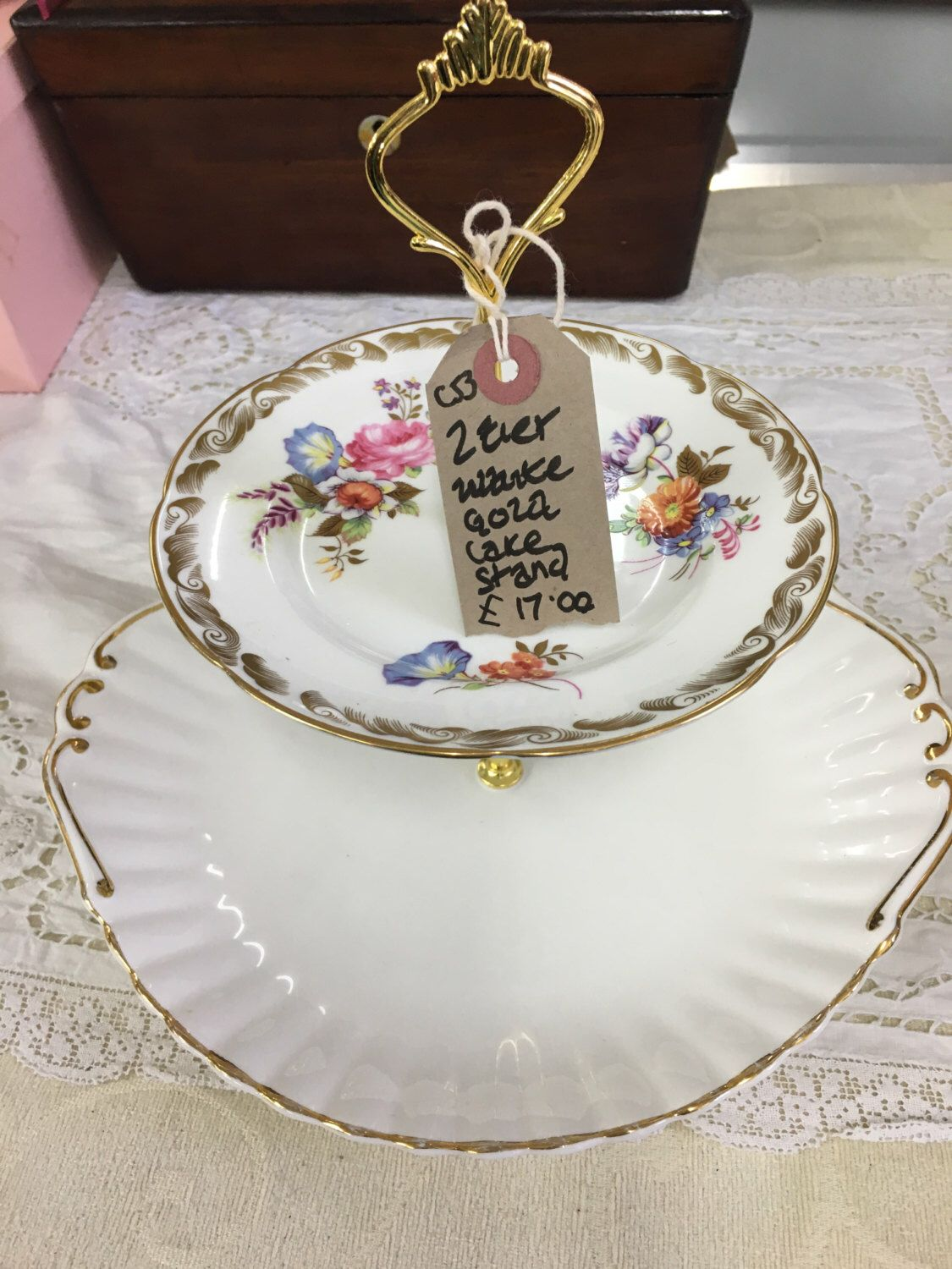 2 Tier mismatch vintage cake stand handmade by