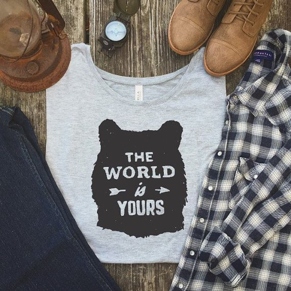 Photo of Wanderlust Shirt – Hiking Shirt – The World is Yours – Womens Wanderlust Tshirt – Gifts for World Travel – Wanderlust Gifts – Wanderlust Top – Wear