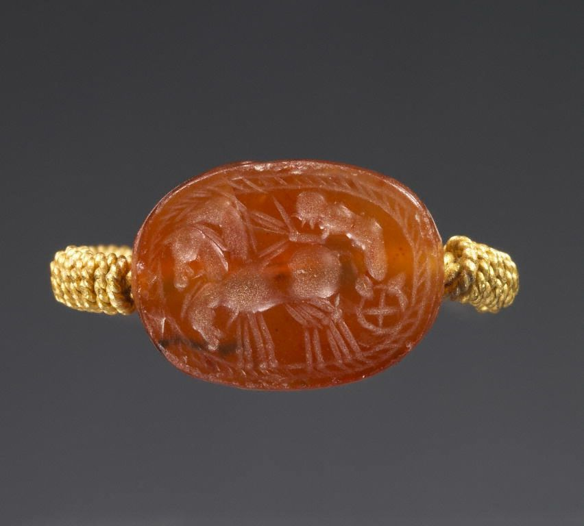 Unknown, Scarab, Etruscan, 4th century B.C., Carnelian and gold - See more at: http://search.getty.edu/gateway/search?q=&cat=type&types=%22Jewelry%22&rows=50&srt=&dir=s&dsp=0&img=0&pg=4#sthash.WPzxX5KV.dpuf