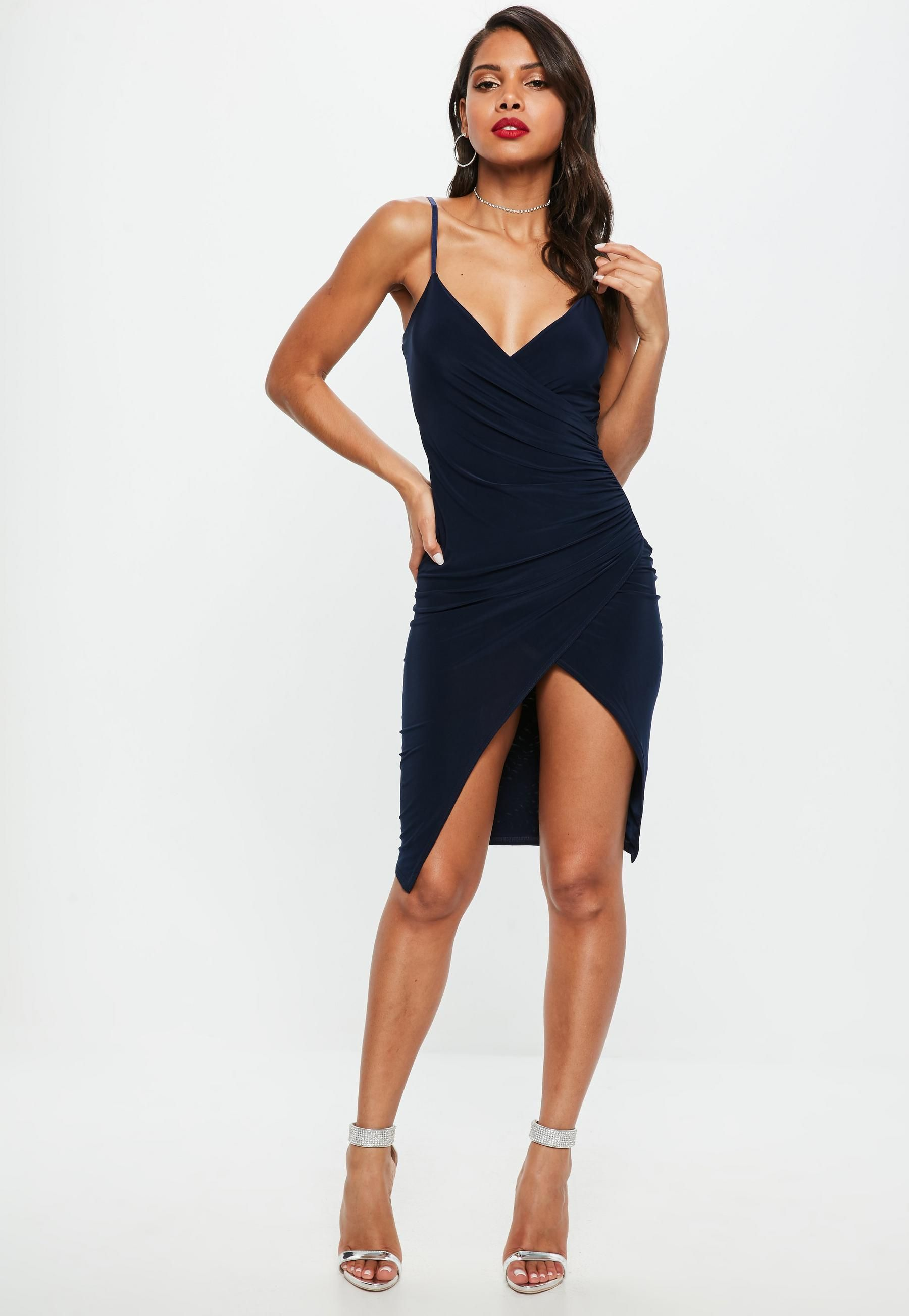 Missguided Khaki Cami Ruched Split Side Midi Dress Outlet Huge Surprise From China For Sale bQUXf7Jk