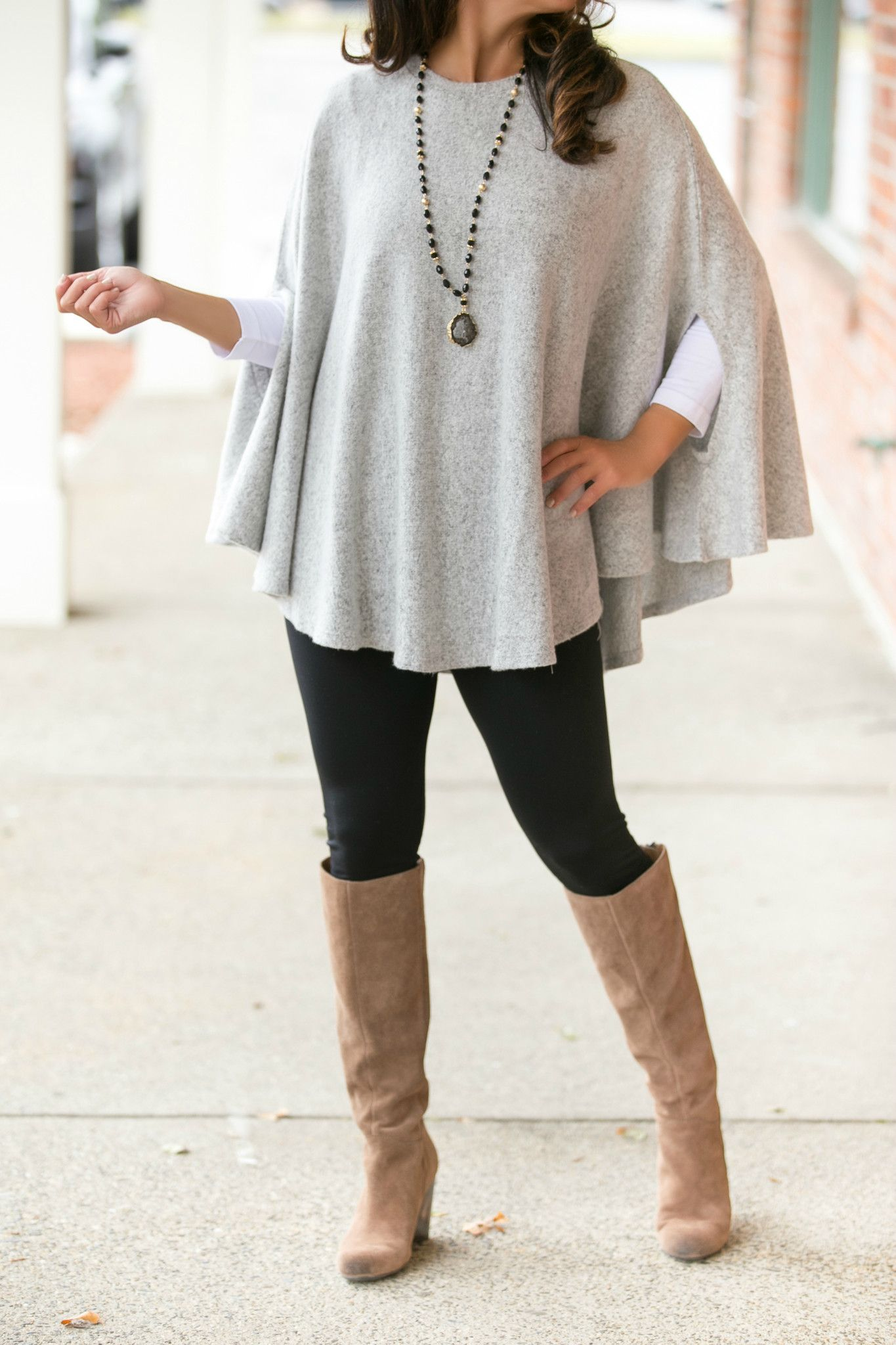 The Ariana Sweater/Poncho in Heather Grey – Jenny Boston Boutique